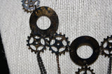 "Steampunk ""Chains & Gears"" Necklace & Earrings Set"