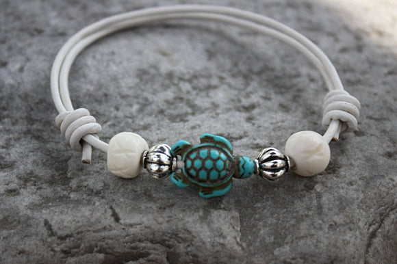Sea Turtle 2 Leather Bracelet/Anklet