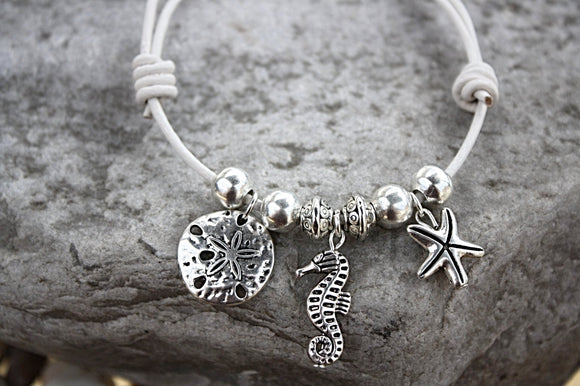Creatures of the Sea Leather Bracelet/Anklet