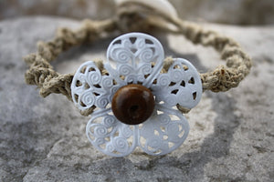 Filigree Flower Hemp Bracelet