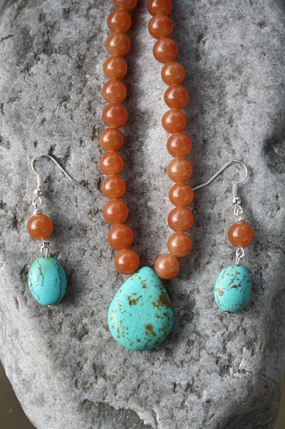 Semi-precious Necklace & Earrings