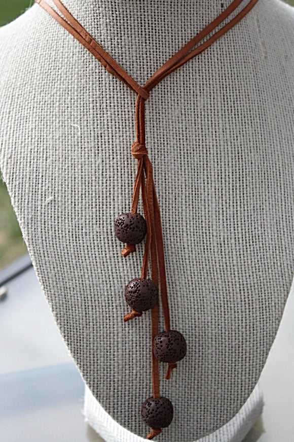 Lava Bead Leather Lasso Necklace