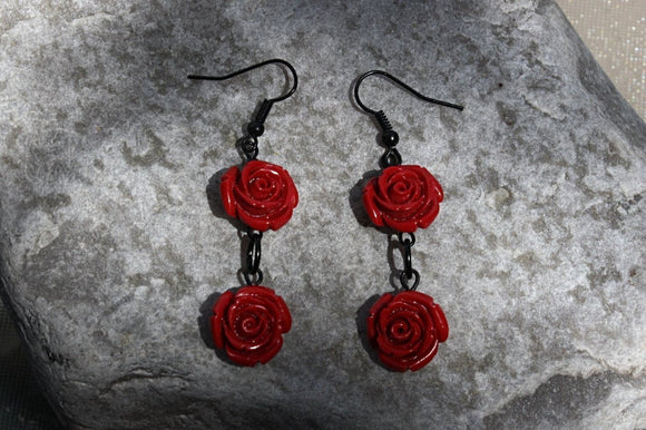 Ravishing Red Rose Earrings