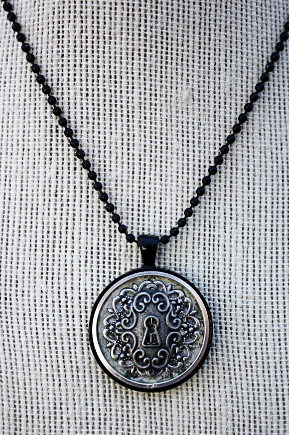 Antique Lock Pendant Necklace
