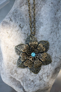 Filigree Flower Pendant with Swarovski Crystal