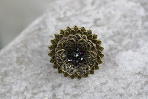 Filigree Flower Adjustable Ring with Swarovski Crystals