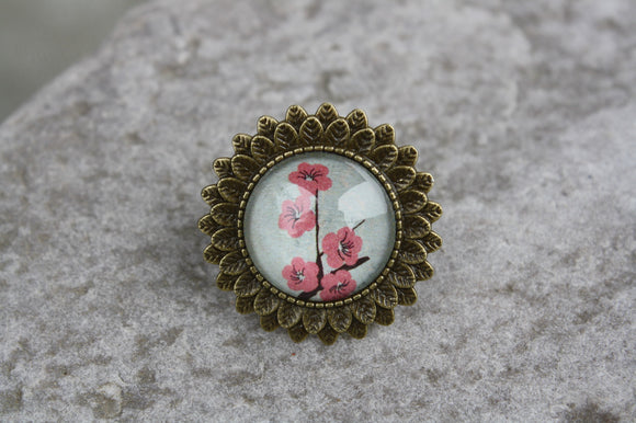 Cherry Blossom-Sunflower Adjustable Ring