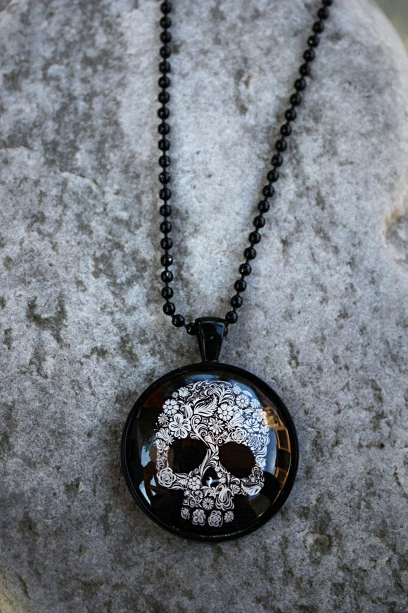 Flower Skull Pendant Necklace