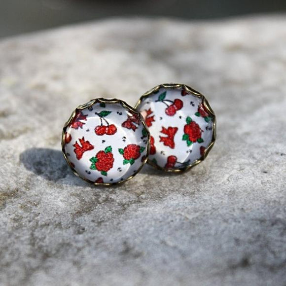 Roses, Pretty Bows & Cherries Stud Earrings