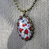 Roses, Pretty Bows & Cherries Pendant Necklace