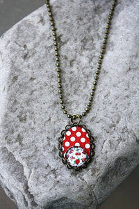 Polka dots & Cherries Pendant Necklace