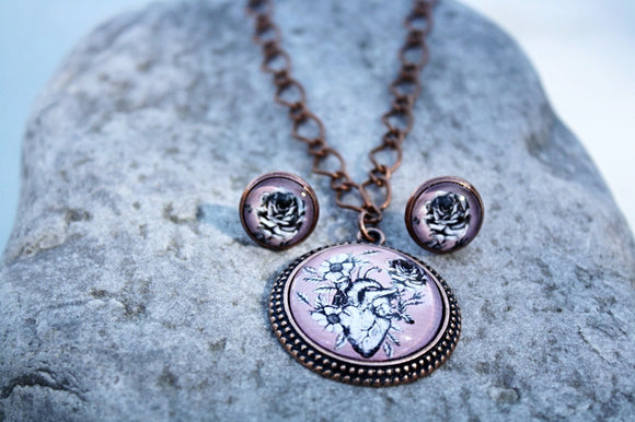 Hearts & Flowers Pendant Necklace Set