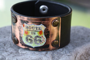"""Route 66"" Leather Cuff Bracelet"