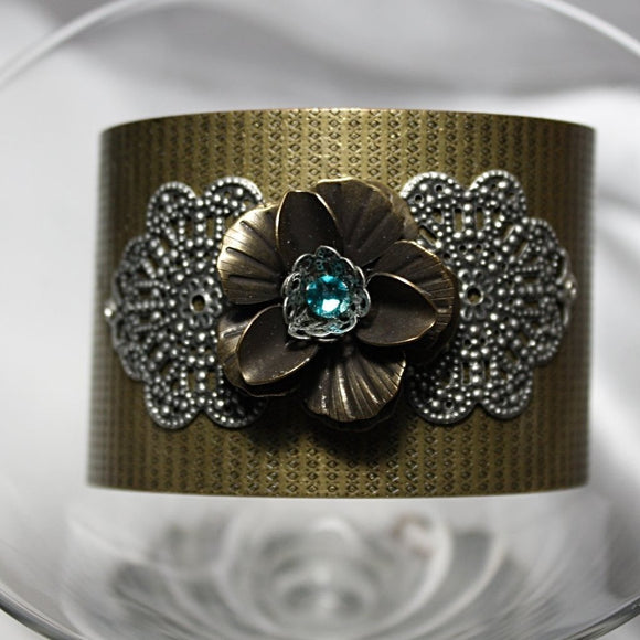 Antique/Steampunk Cuff Bracelet w/Swarovski Crystal