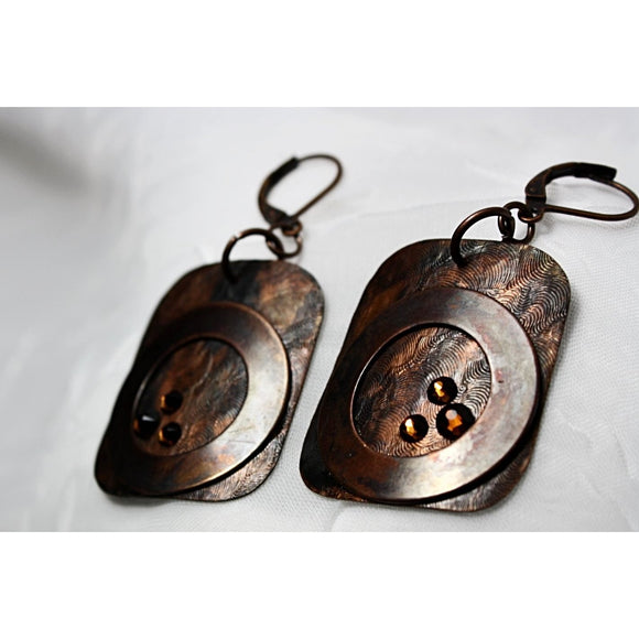 Artsy-Rustic Copper Earrings w/Swarovski Crystals