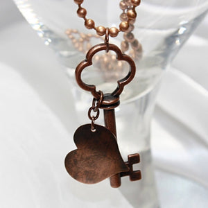 "Antique/Steampunk ""Key to My Heart"" Pendant Necklace"
