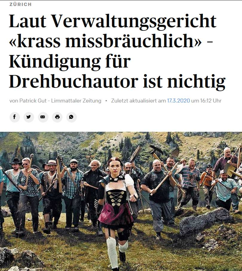 LIMMATTATLER ZEITUNG: Termination of the screenwriter is null and void