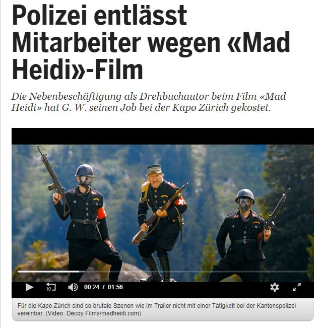 "20MIN: Police fires employee over ""Mad Heidi"" film"