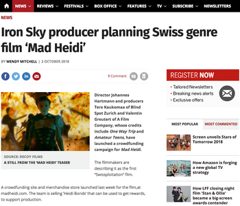 SCREEN DAILY: Iron Sky producer planning Swiss genre film 'Mad Heidi'