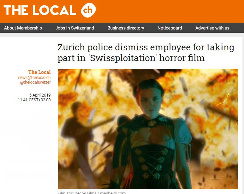 THE LOCAL: Zurich police dismiss employee for taking part in 'Swissploitation' horror film