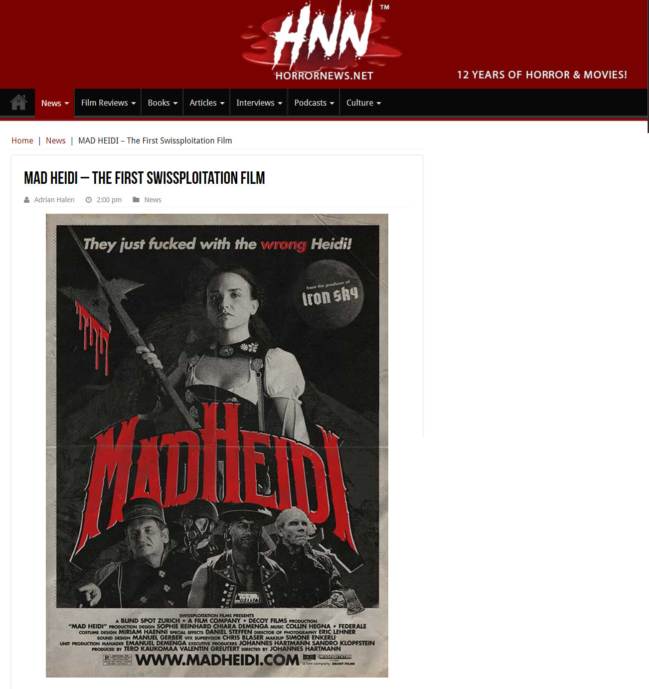 HORROR NEWS: MAD HEIDI – The First Swissploitation Film