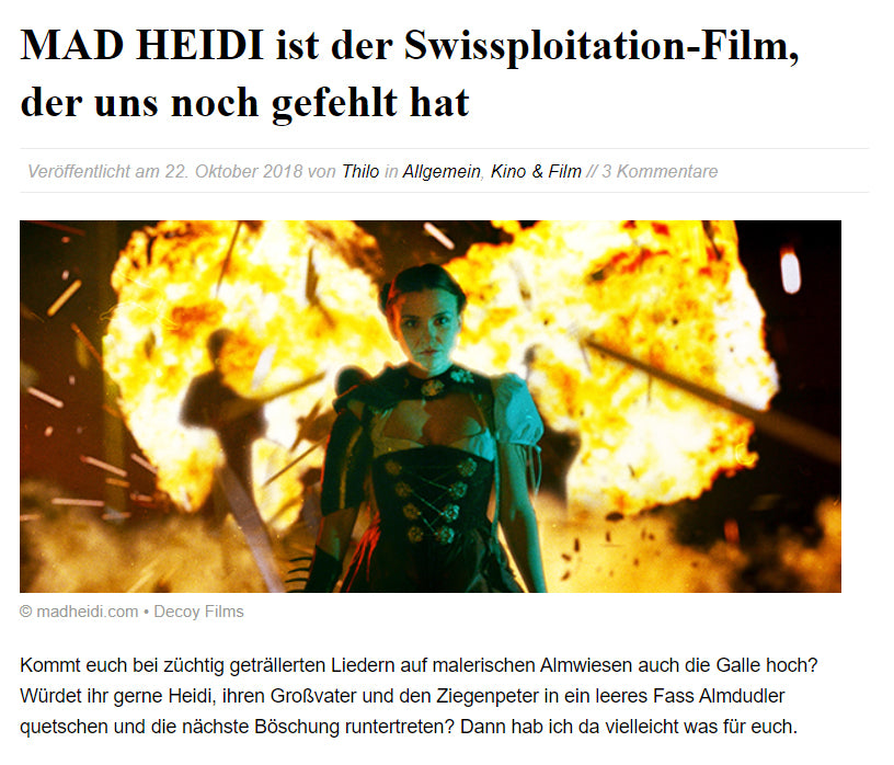 NERD WIKI: MAD HEIDI is the Swissploitation film that we were still missing
