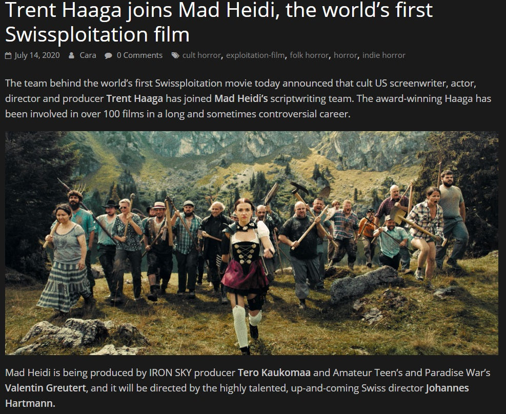 POPCORN HORROR: Trent Haaga joins Mad Heidi, the world's first Swissploitation film