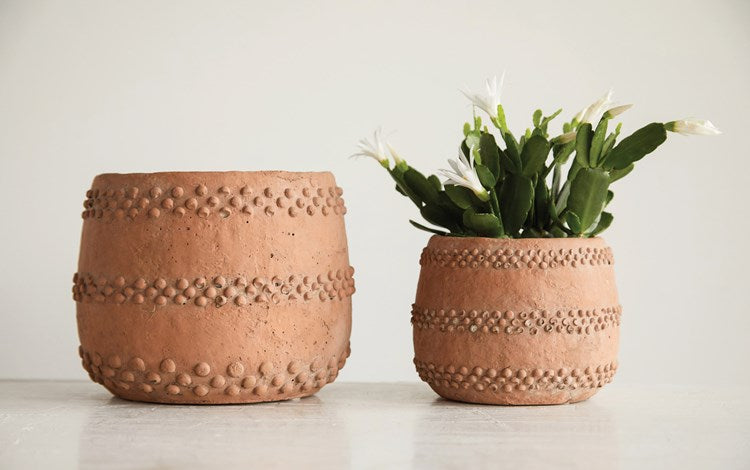 Beaded Cement Planter: Terra-cotta