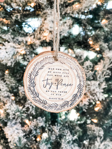 Joy & Peace Wood Ornament