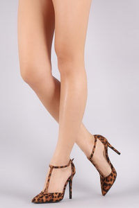 Anne Michelle Leopard Suede Pointy Toe T-Strap Stiletto Pump