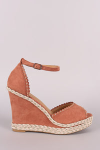 Bamboo Studded Scallop Ankle Strap Platform Wedge