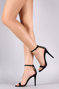 Qupid Rhinestone Counter Ankle Strap Single Sole Heel
