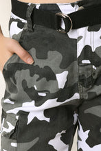 Belted Camouflage Cargo Jogger Pants