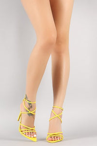 Strappy Patent Pointed Open Toe Stiletto Heel