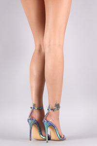 Liliana Holographic Snake Embossed Transparent Open Toe Heel