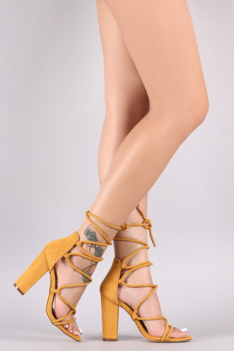 Suede Open Strappy Toe Lace Up Chunky Heel