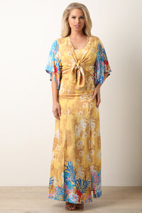 Tropical Maxi Dress With Kimono Set