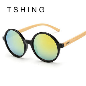 Unique Bamboo Designer Mirror Round Sunglasses Women Men UV400
