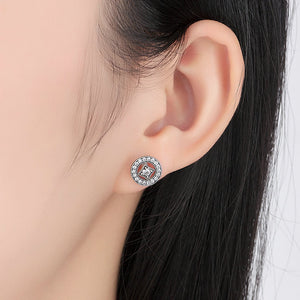 925 Sterling Silver Vintage Allure, Clear CZ Stud Earrings PAS485