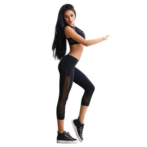 Mesh Breathable Women Sportswear Yoga Leggings Fitness Sports Pants