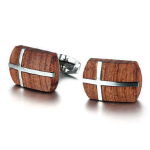 Retro Rosewood Cross Design Wooden Men Cuff Links High Quality Wood Stainless Steel Cufflinks Male Jewelry