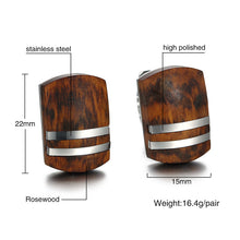 Mens Cufflinks with Retro Rosewood High Quality Stainless Steel Cufflinks for Men Jewelry
