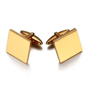 Sqaure Shape Gentle Men Cufflinks Top Quality Stainless Steel Gold-color Cuff Links Male Jewelry