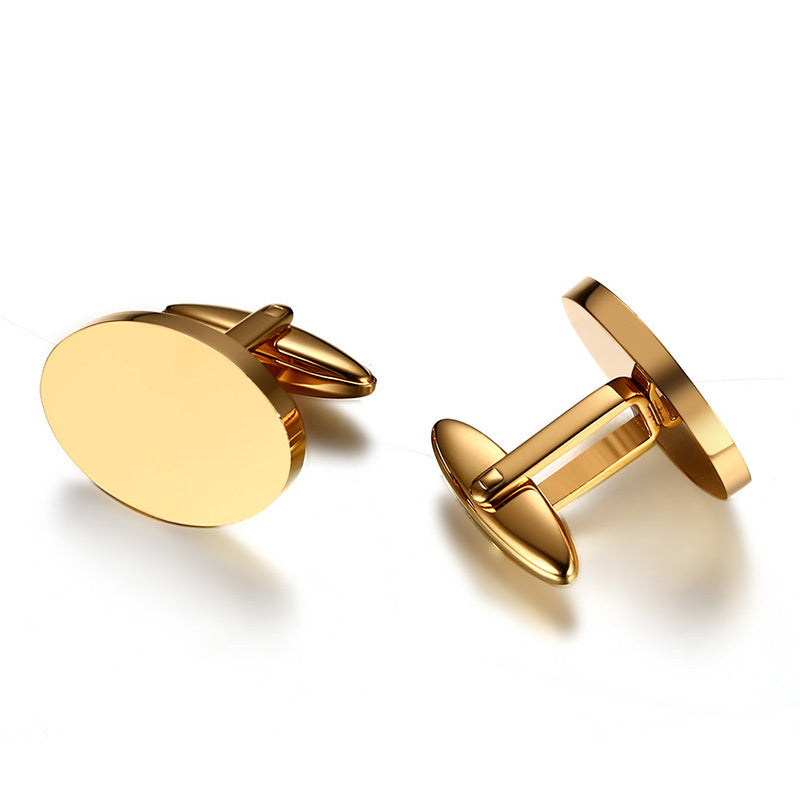 Oval Shape Men Cufflinks Top Quality Stainless Steel Gold-color Male Jewelry