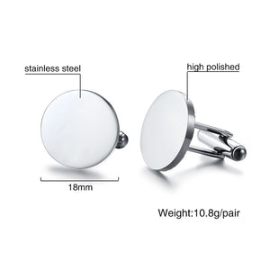 Mens Cufflinks High Polished Stainless Steel Male Round Cuff link Set