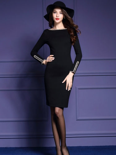 Zippered Long Sleeve Women's Sheath Dress