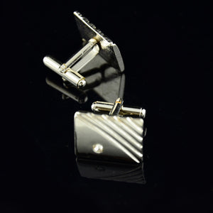 Diamond Tie Clip Cufflinks Suit Lapel Mens Wedding Gift Cuff Link Set