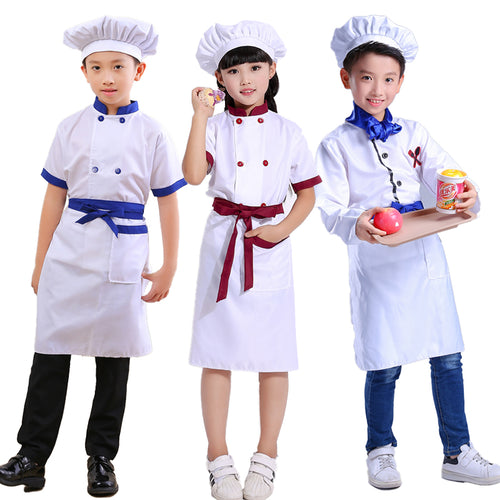 Children Games Chef Uniform Tops +Apron+Hat Girl Boy Kitchen Work Costume 89