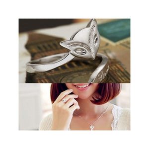 Lady Fox Style Adjustable 925 Sterling Silver Finger Ring