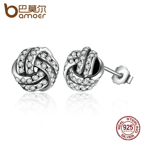 925 Sterling Silver Weave Classic Push-back Stud Earring Women Jewelry brinco PAS476